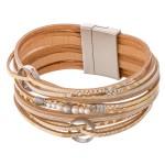 Wholesale metallic Geometric Print Faux Leather Multi Strand Magnetic Bracelet M