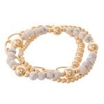 Wholesale gold Ball Beaded Semi Precious Stretch Bracelet Set pcs set diameter F