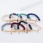 Wholesale multicolored faceted beaded stretch bracelet east west cross diameter