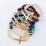 Wholesale grey faceted beaded stretch bracelet east west cross diameter unstretc