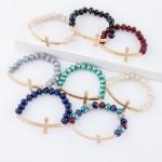 Wholesale natural faceted beaded stretch bracelet east west cross diameter unstr