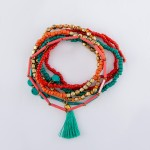 Wholesale coral Teal Semi Precious Tube Beaded Boho Charm Tassel Bracelet Set pc