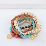 Wholesale natural Blue Wooden Beaded Boho Sea Charm Stacking Stretch Bracelet Se
