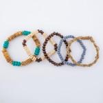 Wholesale natural Turquoise Heishi Beaded Rope Boho Stacking Stretch Bracelet Se