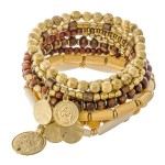 Wholesale natural Brown Wooden Beaded Boho Coin Stacking Stretch Bracelet pcs se