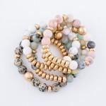 Wholesale semi Precious Natural Stone Beaded Stretch Bracelet diameter Fits up w