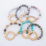 Wholesale semi Precious Natural Stone Beaded Stretch Bracelet Gold Hammered diam
