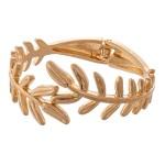 Wholesale metal Leaf Hinge Bangle Bracelet Worn Gold diameter Fits up wrist