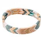 Wholesale patina Multi Chevron Stretch Bracelet diameter Fits up wrist