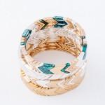 Wholesale chevron Stretch Bracelet Worn Silver diameter Fits up wrist