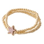 Wholesale gold Beaded Druzy Star Stretch Bracelet Set pcs set diameter Fits up w