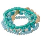 Wholesale natural Stone Beaded Stretch Bracelet Set Worn Detailing pcs set diame