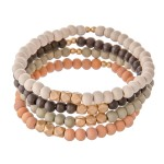 Wholesale multi Wood Beaded Stretch Bracelet Set Gold Accents pcs set diameter F
