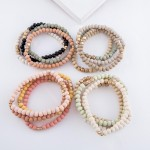 Wholesale multi Wood Beaded Stretch Bracelet Set Gold Accents pcs set diameter F