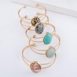 Wholesale natural Stone Cuff Bracelet Worn Gold approx diameter Fits up wrist