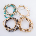 Wholesale semi Precious Beaded Stretch Bracelet Set Natural Stone Details pcs se