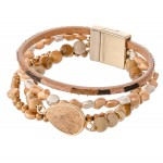 Wholesale semi Precious Beaded Magnetic Bracelet Natural Stone Animal Print Deta