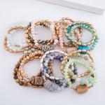 Wholesale natural Stone Beaded Stretch Bracelet Set pcs set diameter Fits up wri