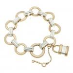 Wholesale two Circle Link Lock Key Charm Bracelet Lock Charm approx diameter Fit