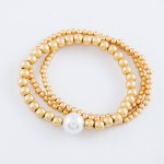 Wholesale beaded Pearl Stretch Bracelet Set Matte Gold pcs set mm Pearl diameter