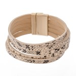 Wholesale multi Strand Faux Leather Snakeskin Magnetic Bracelet Multi Strand Mag