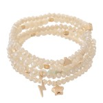 Wholesale faceted Beaded Stretch Bracelet Set Stars Lightning Bolt Gold Charms N