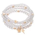 Wholesale faceted Beaded Stretch Bracelet Set Stars Lightning Bolt Gold Charms N