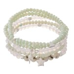 Wholesale faceted Beaded Stretch Bracelet Set Stars Lightning Bolt Silver Charms