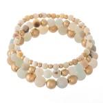 Wholesale natural Stone Beaded Stretch Bracelet Set Gold pcs per set Diameter Fi