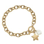 Wholesale chain Link Ivory Pearl Star Charm Bracelet Gold Toggle Bar Clasp Closu