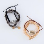 Wholesale beaded Bolo Cord Stretch Bracelet Set Blessed Rhinestone PC Per Set St