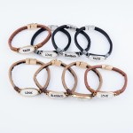 Wholesale faux Leather Magnetic Bracelet Blessed Dome Detail Magnetic Closure Di