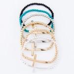 Wholesale beaded Cross Stretch Bracelet Cross Diameter Fits up Wrist