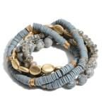 Wholesale pC Semi Precious Rubber Heishi Beaded Stackable Stretch Bracelet Set
