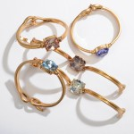 Wholesale crystal Gemstone Bangle Bracelet Gold Diameter Hook Clasp Closure