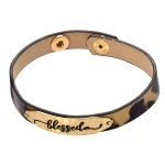 Wholesale leopard Print Blessed Snap Bracelet Blessed approx Adjustable Snap But