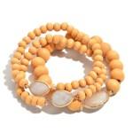 Wholesale pC Wood Beaded Semi Precious Stretch Bracelet Set PC Per Set Bead mm