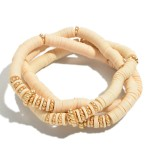 Wholesale pC Rubber Heishi Beaded Stretch Bracelet Set Gold Accents PC Per Set