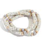 Wholesale pC Rubber Heishi Beaded Stretch Bracelet Set Glass Bead Details PC Pe