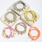 Wholesale pC Rubber Heishi Beaded Stretch Bracelet Set Gold Star Accents PC Per