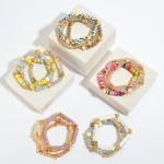 Wholesale pC Rubber Heishi Beaded Star Stretch Bracelet Set Gold PC Per Set Dia