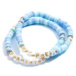 Wholesale pC Rubber Heishi Beaded Faith Hope Stretch Bracelet Set PC Per Set Di