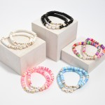 Wholesale pC Rubber Heishi Beaded Mama Love Stretch Bracelet Set PC Per Set Dia