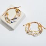 Wholesale multi Beaded Be Kind Pearl Bolo Bracelet Adjustable Bolo Closure Diame