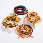 Wholesale pC Multi Wood Beaded Boho Charm Stackable Stretch Bracelet Set PC Per