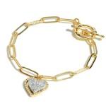Wholesale chain Link Druzy Heart Charm Toggle Bar Bracelet Heart Charm Diameter