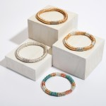 Wholesale two Metal Spacer Beaded Rhinestone Stretch Bracelet Diameter