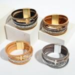 Wholesale faux Leather Rhinestone Cross Magnetic Bracelet Magnetic Clasp Closure