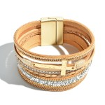Wholesale faux Leather Rhinestone Cross Magnetic Bracelet Magnetic Clasp Closure