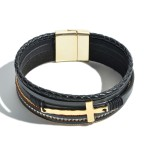 Wholesale faux Leather Braided Cross Magnetic Bracelet Magnetic Clasp Closure Di